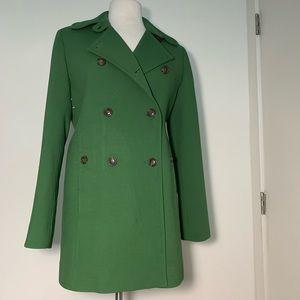 Cole Haan Green Jewel Tone Wool Blend Pea Coat